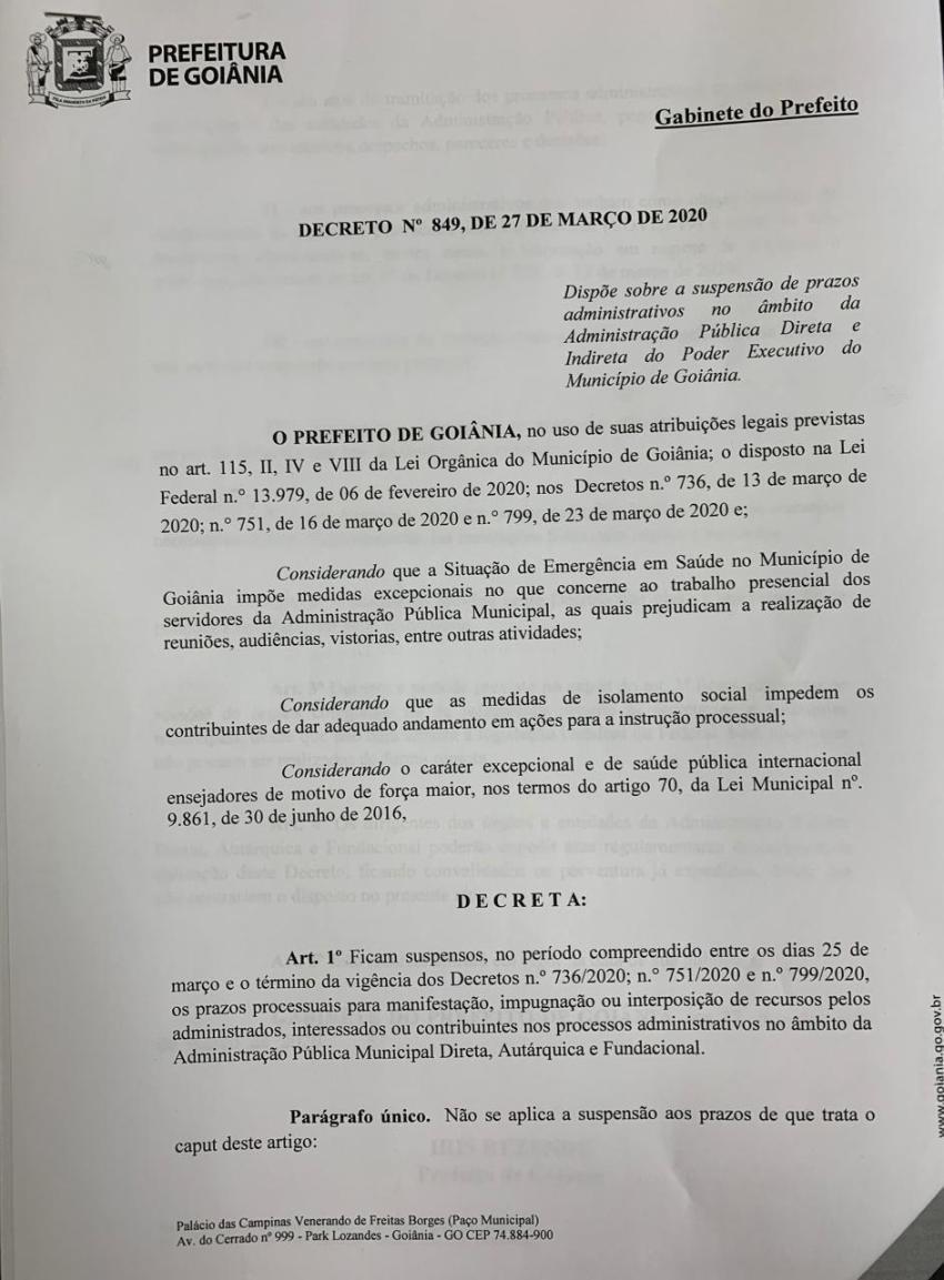 Atendendo pedido da OAB-GO, Prefeitura de Goiânia suspende prazos de processos administrativos