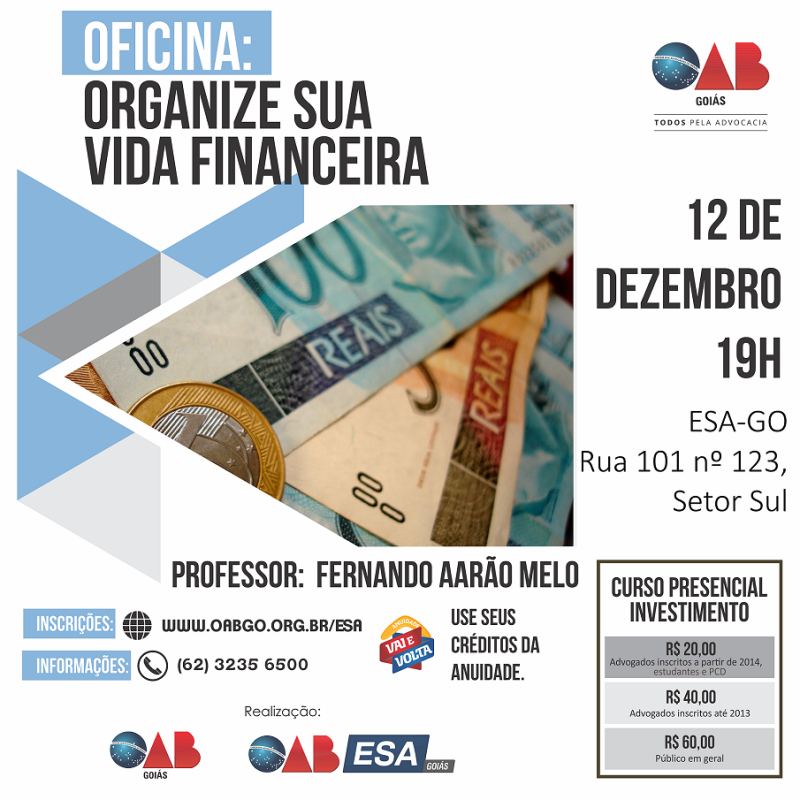 OAB-GO promove oficina presencial para empoderamento financeiro