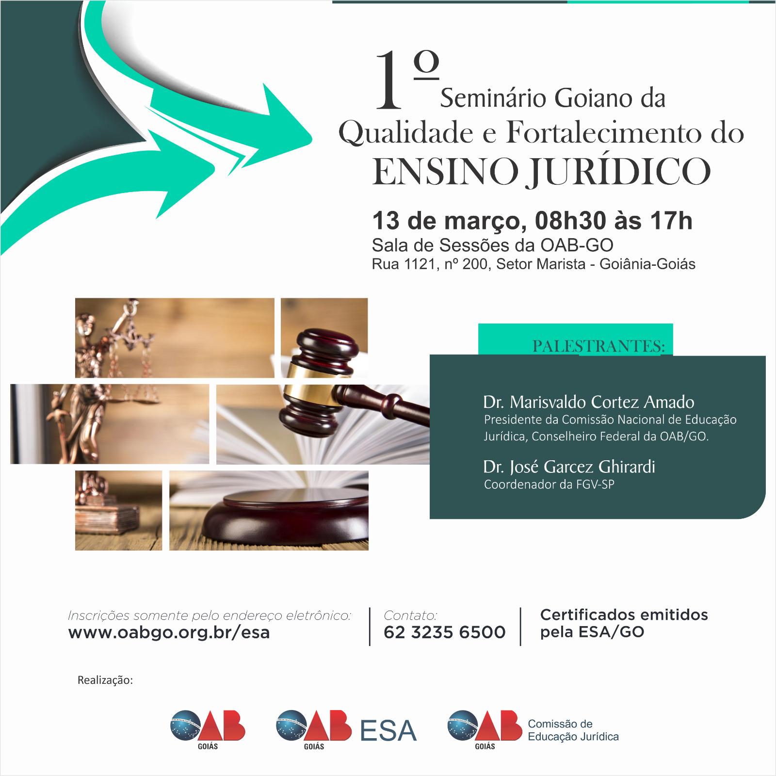 13/03 - 1º Seminário Goiano do Ensino Jurídico