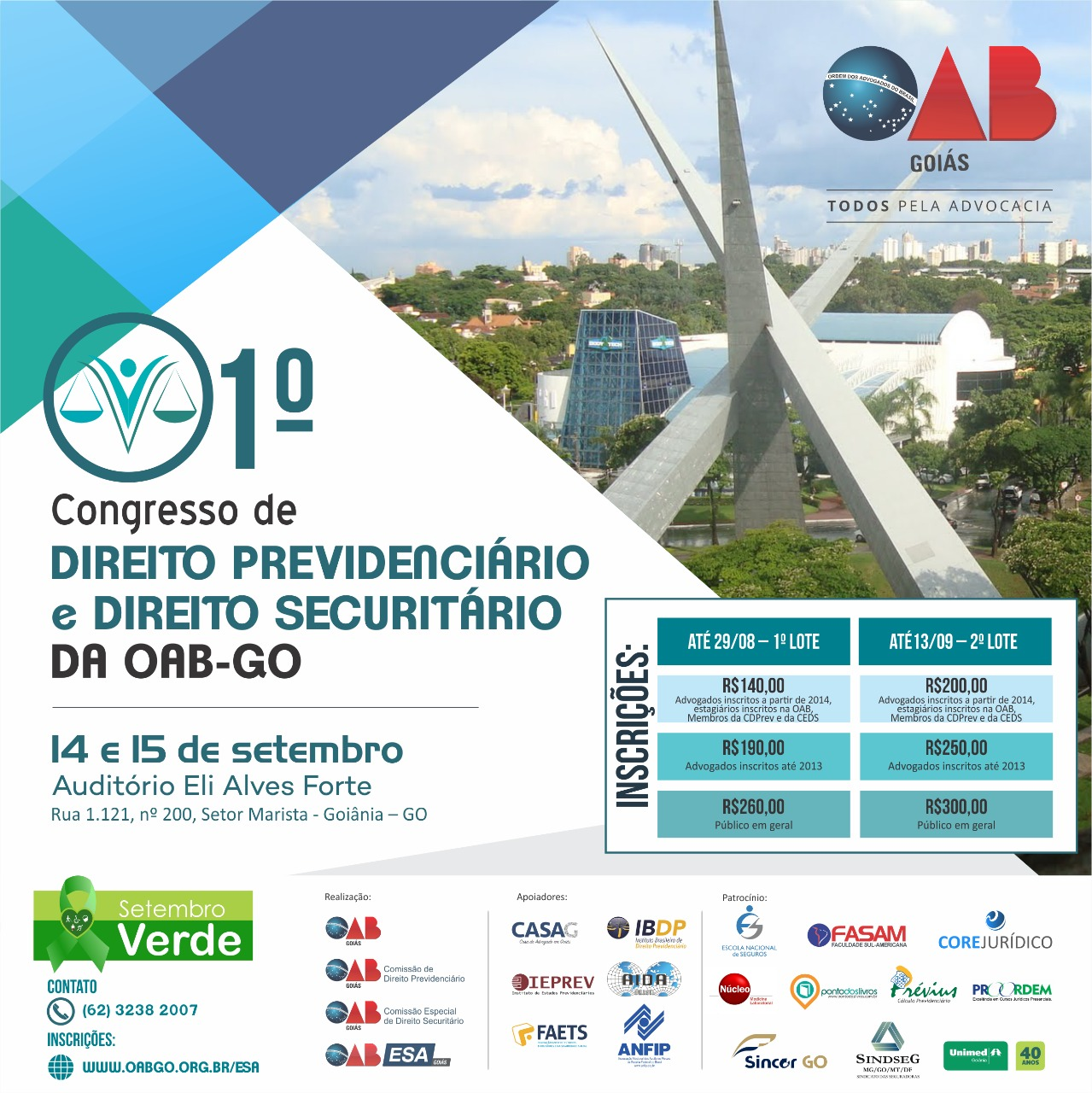 14 e 15.09 - 1º Congresso de Direito Previdenciário e Direito Securitário da OAB-GO