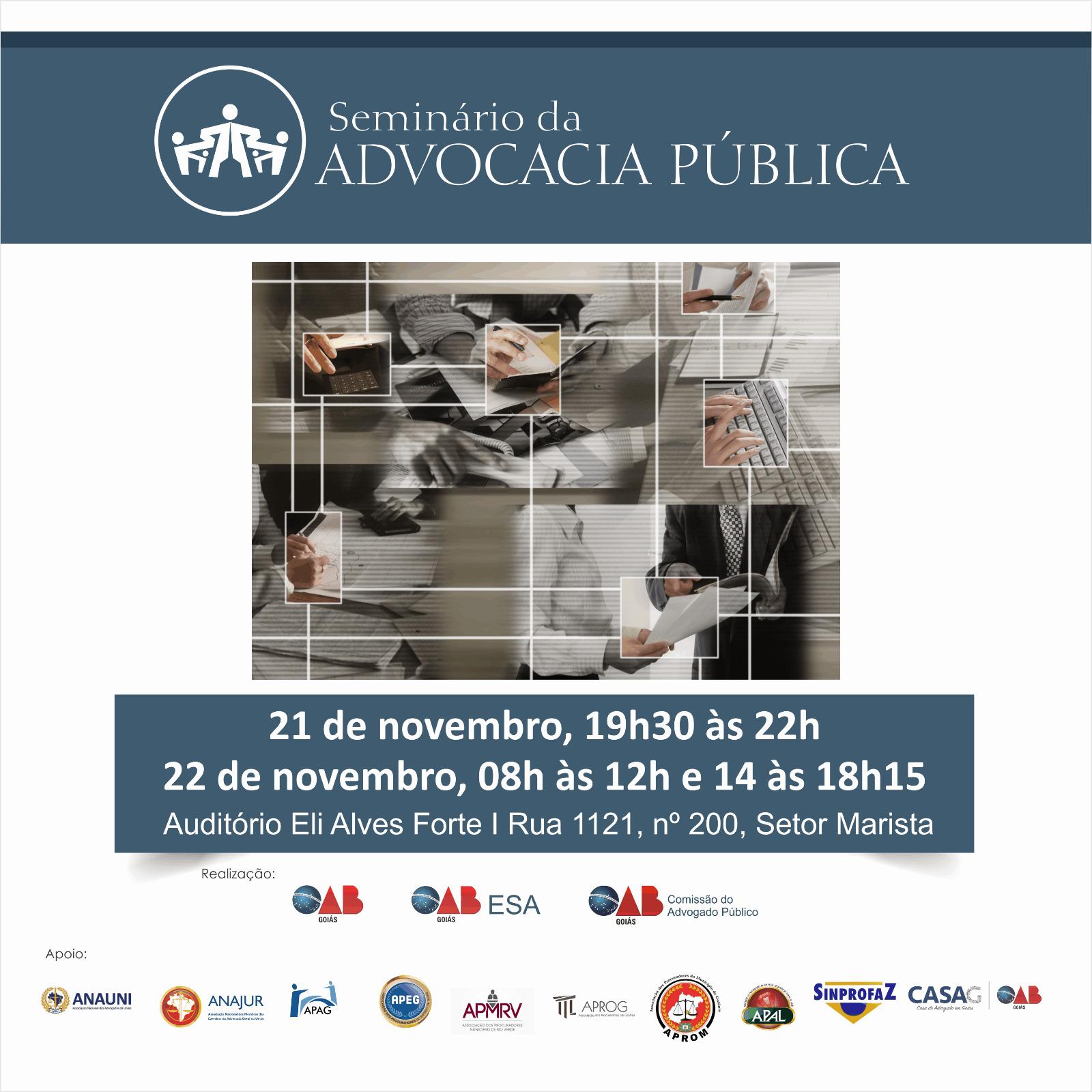21 e 22/11 - Seminário da Advocacia Pública