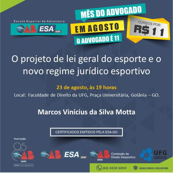 23.08 - O Projeto de Lei Geral do Esporte e o Novo Regime Jurídico Esportivo