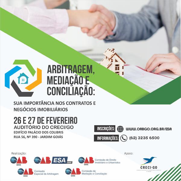 26 e 27.02 - Arbitragem, Mediação e Conciliação - Sua Importância nos Contratos e Negócios Imobiliários