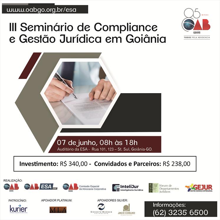 07.06 - III Seminário de Compliance e Gestão Jurídica em Goiânia