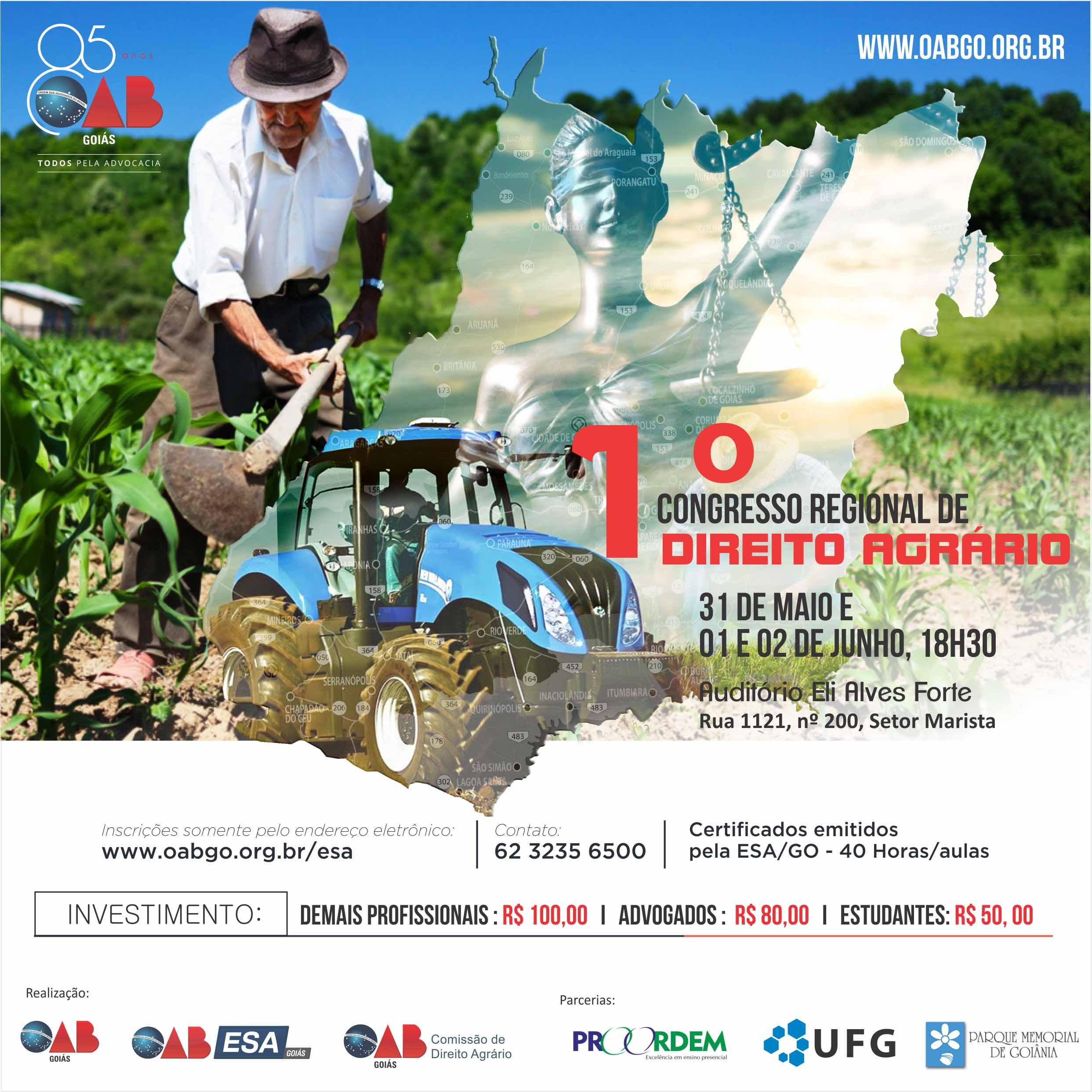 31.05, 01 e 02.06 - 1º Congresso Regional de Direito Agrário