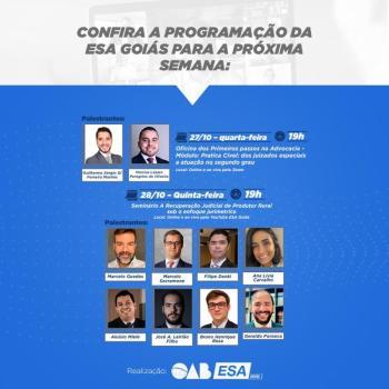 ESA-GO oferece cursos e seminários sobre publicidade para advocacia, atuação em juizados especiais e recuperação judicial de produtor rural
