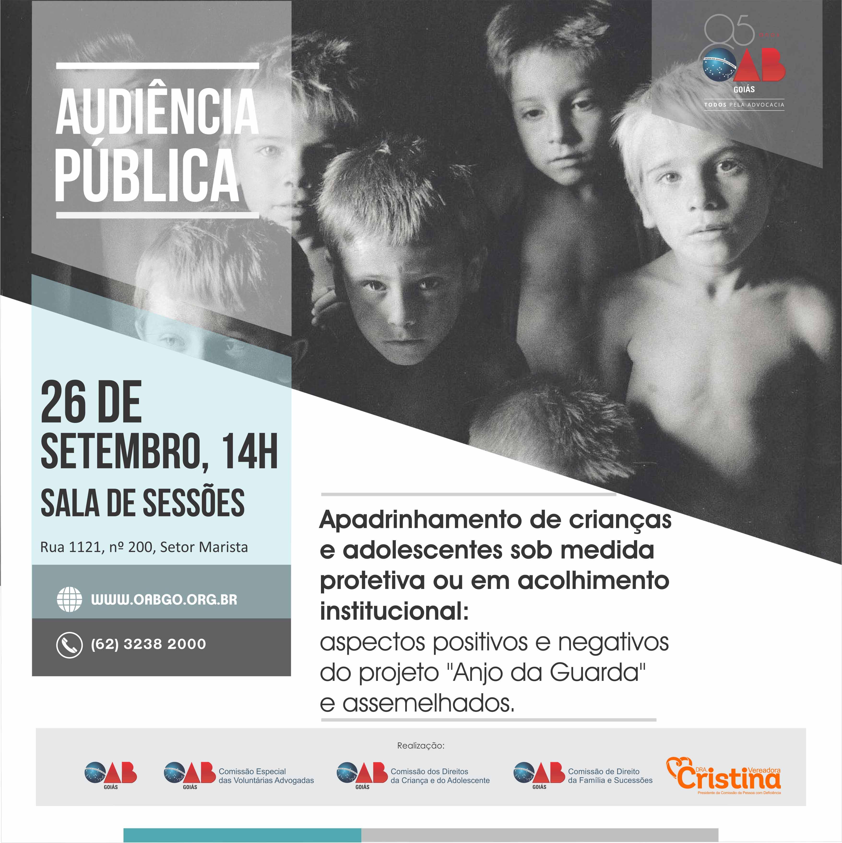 26.09 - Audiência Pública - Apadrinhamento de Crianças e Adolescentes Sob Medida Protetiva ou em Acolhimento Institucional