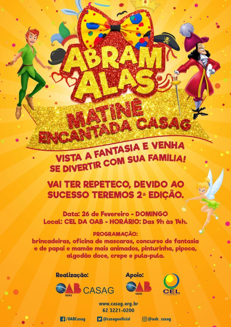 CASAG FARÁ NOVA MATINÊ NO DOMINGO DE CARNAVAL