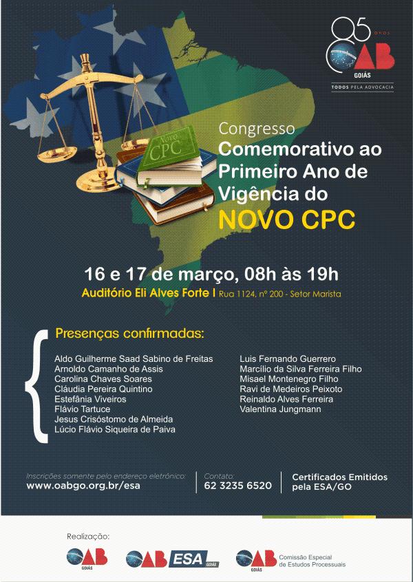 16 e 17.03 - Congresso Comemorativo ao 1º Ano de Vigência do Novo CPC