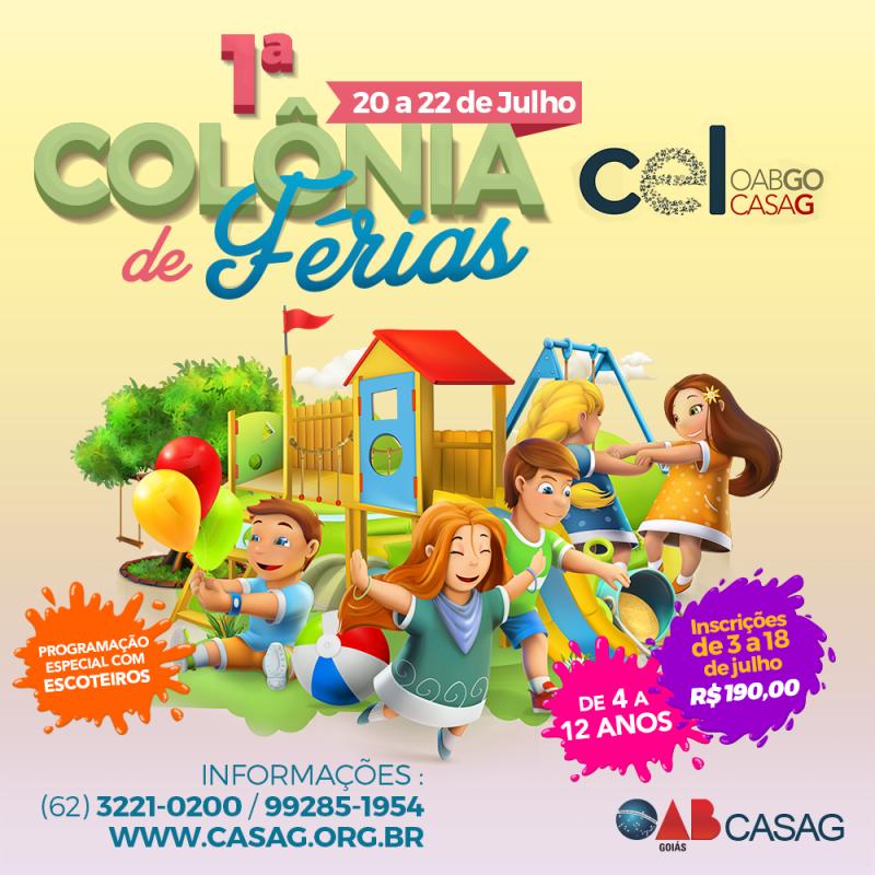 Inscrições abertas para Colônia de Férias da Casag