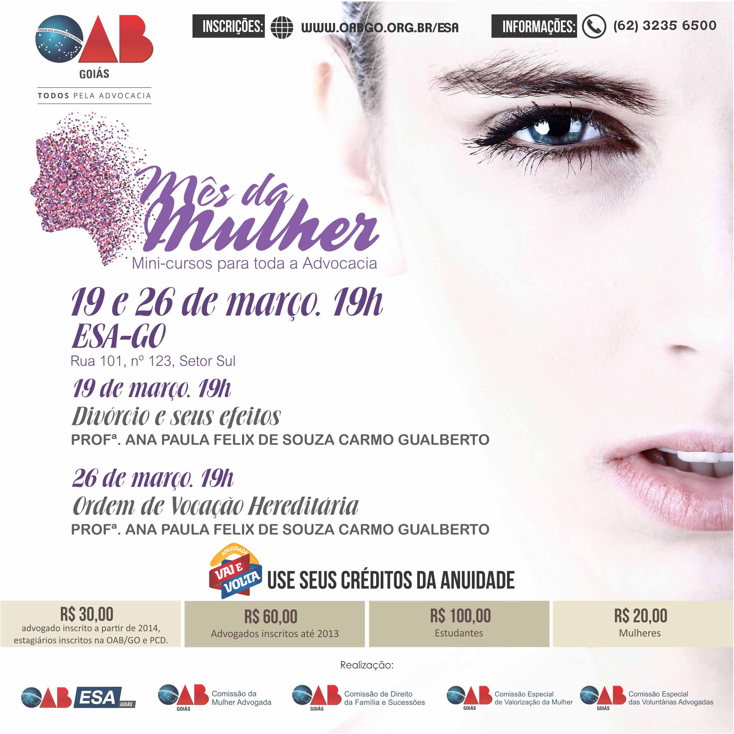 19 e 26.03 - Mês da Mulher- Mini-Curso - Direito de Família