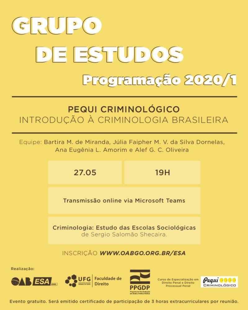 ESA-GO promove encontro online do grupo de estudos sobre criminologia brasileira