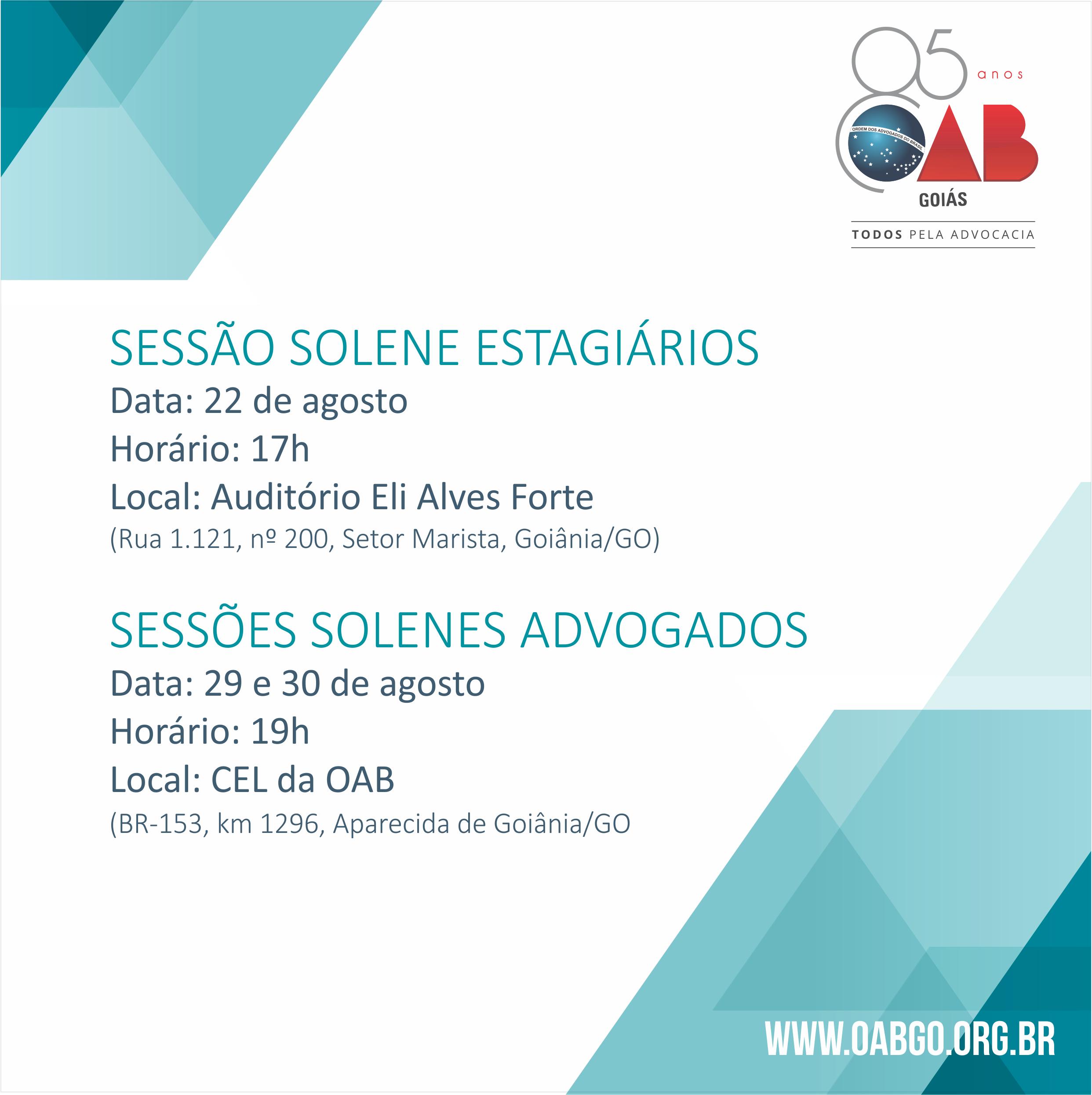 22, 29 e 30.08 - Sessões Solenes