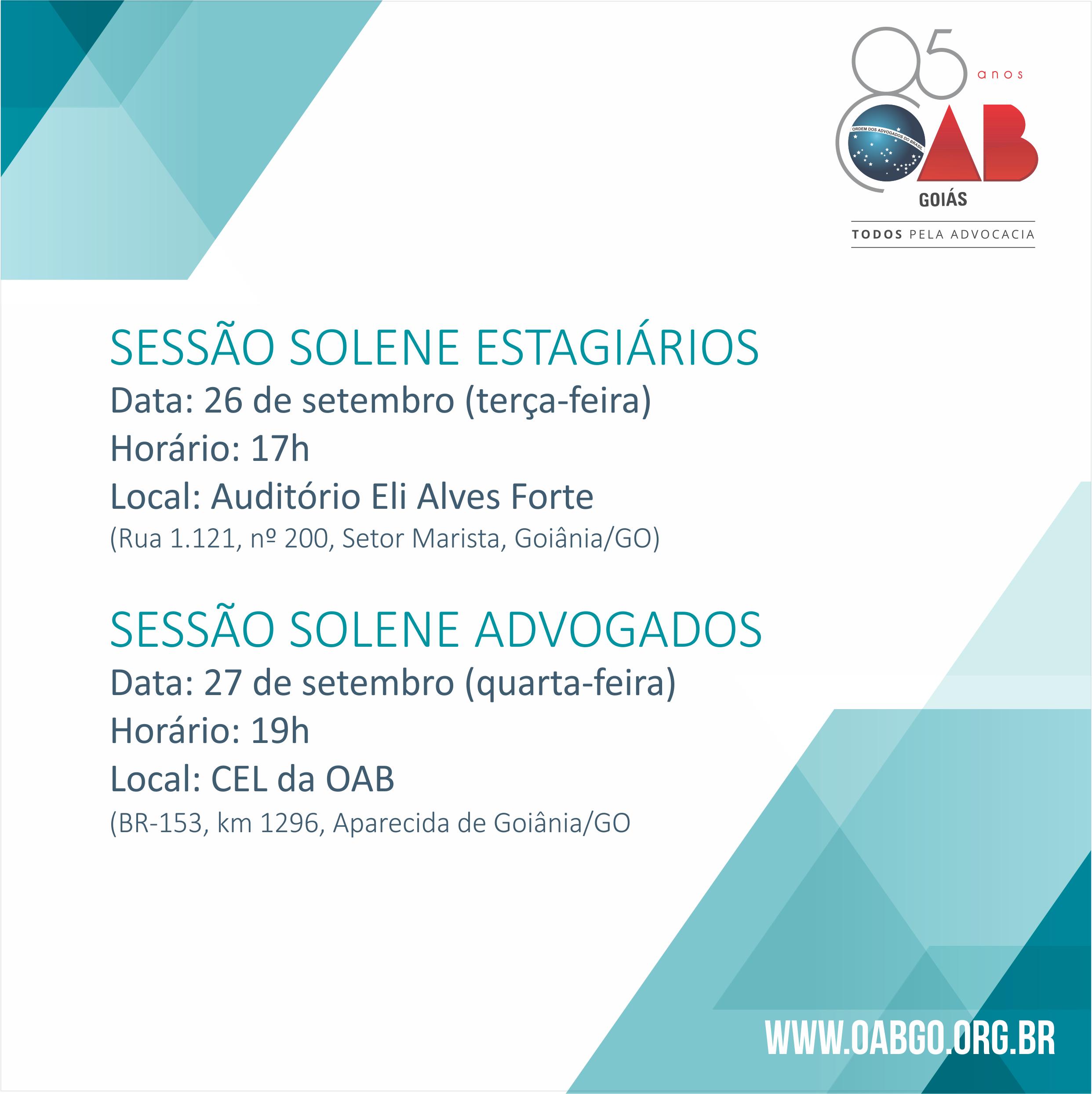 26 e 27.09 - Sessões Solenes
