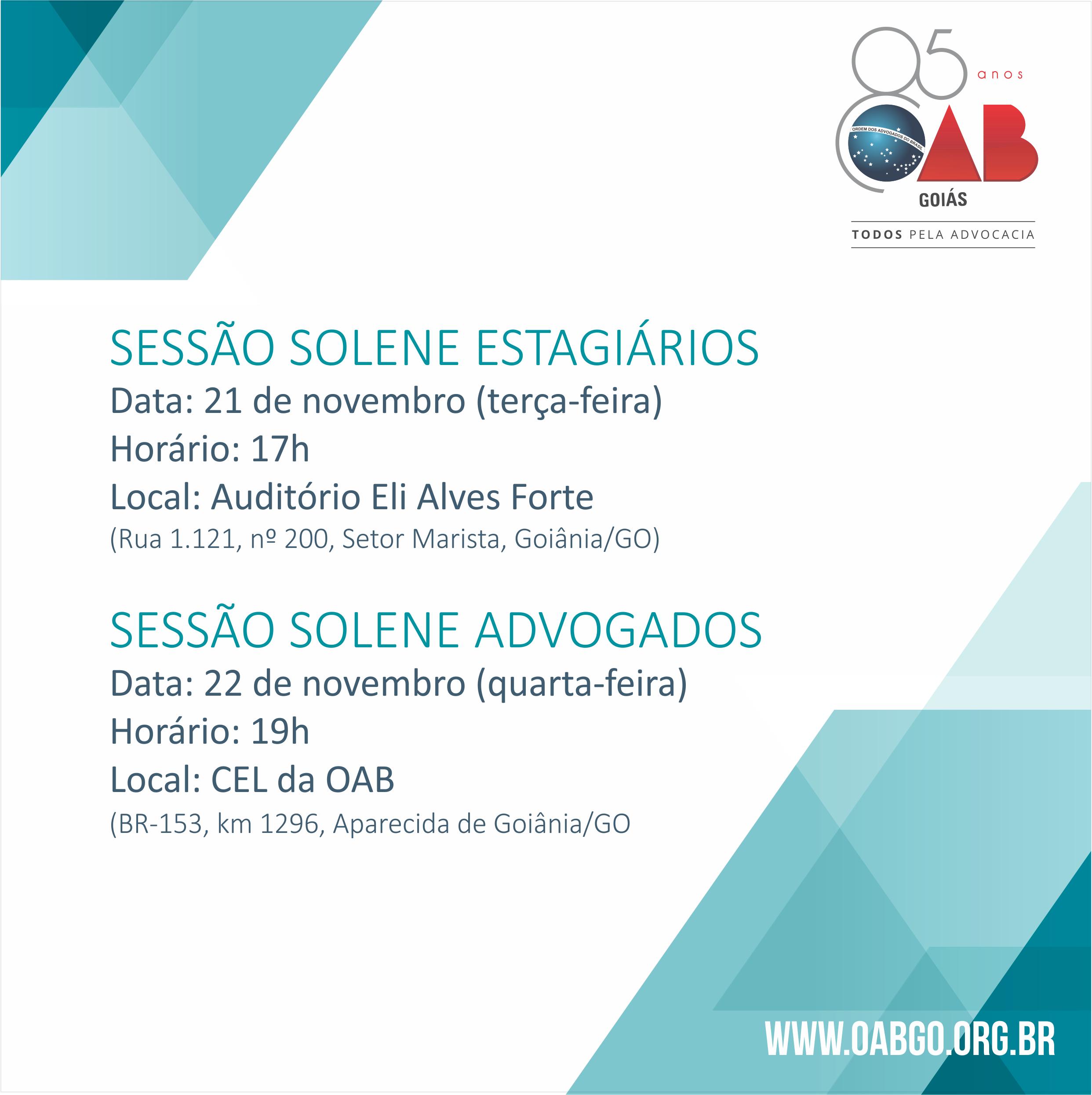 21 e 22.11 - Sessões Solenes