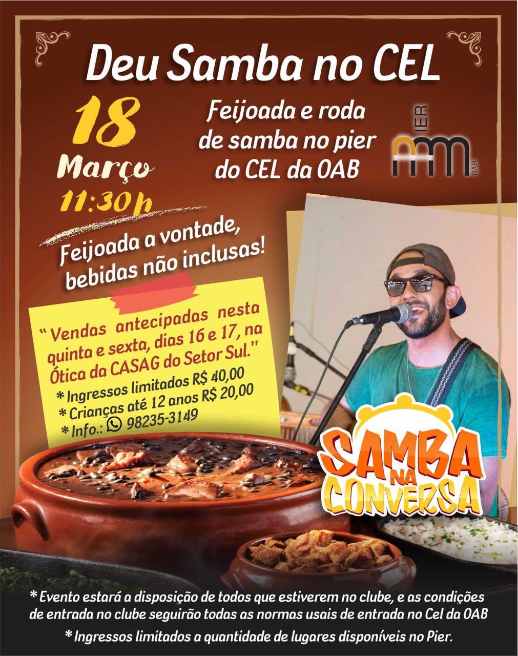 Deu Samba no CEL agita programação no Pier do CEL da OAB