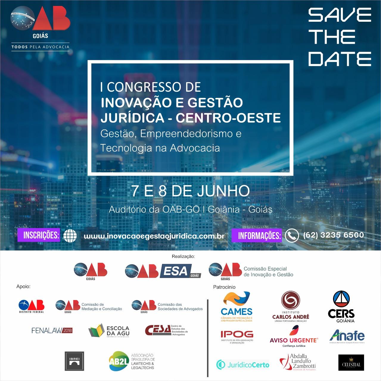 07 e 08.06 - I Congresso de Inovação e Gestão  Jurídica - Centro-Oeste