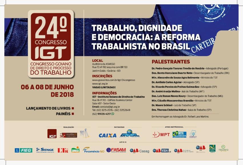 Com apoio da OAB-GO e Casag, IGT realiza seu 24º Congresso de Direito e  Processo do Trabalho 6ded0e1592