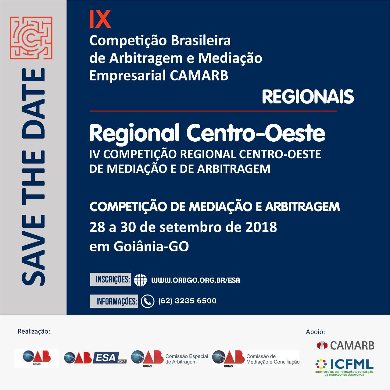 28 a 30.09 - IX Competição Brasileira de Arbitragem e Mediação - Regional Centro-Oeste