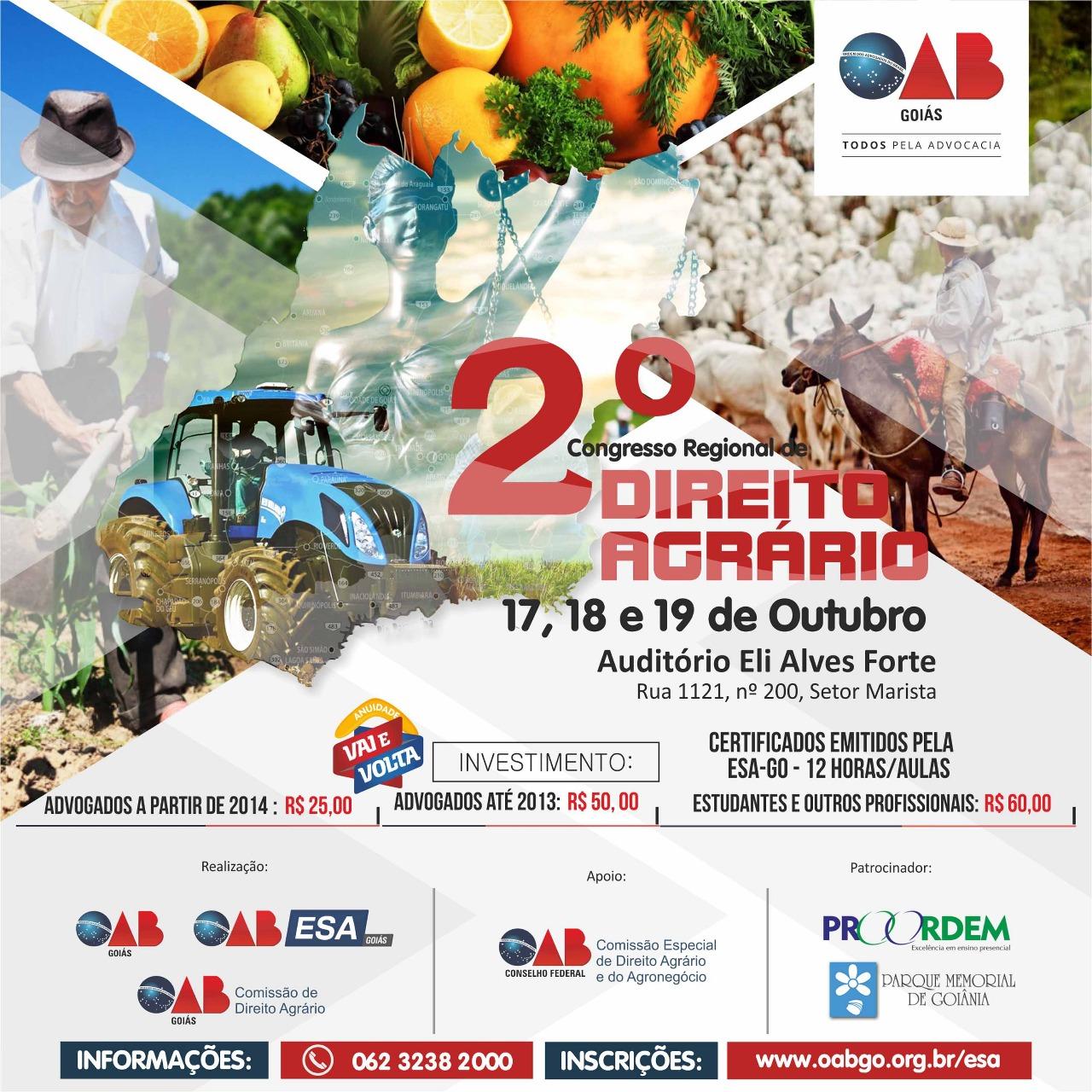 Últimas vagas disponíveis para 2º Congresso Regional de Direito Agrário