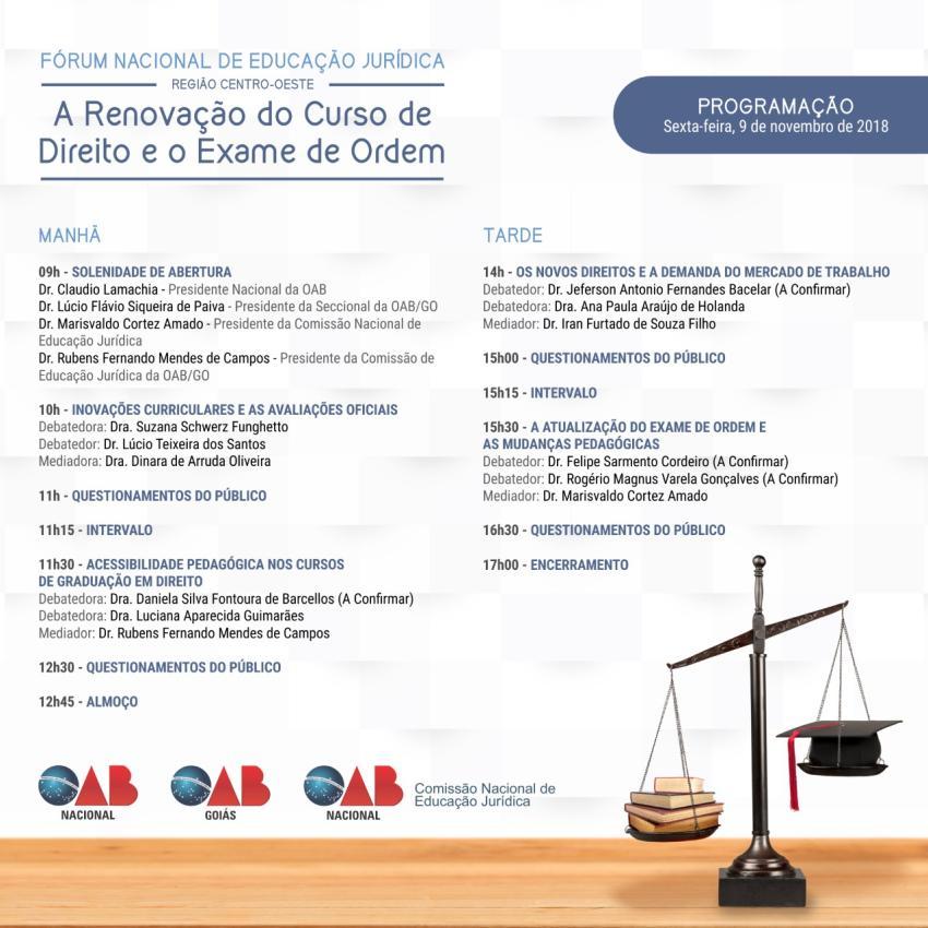 Renovação dos cursos de Direitos é tema de fórum nacional que acontece em Goiânia
