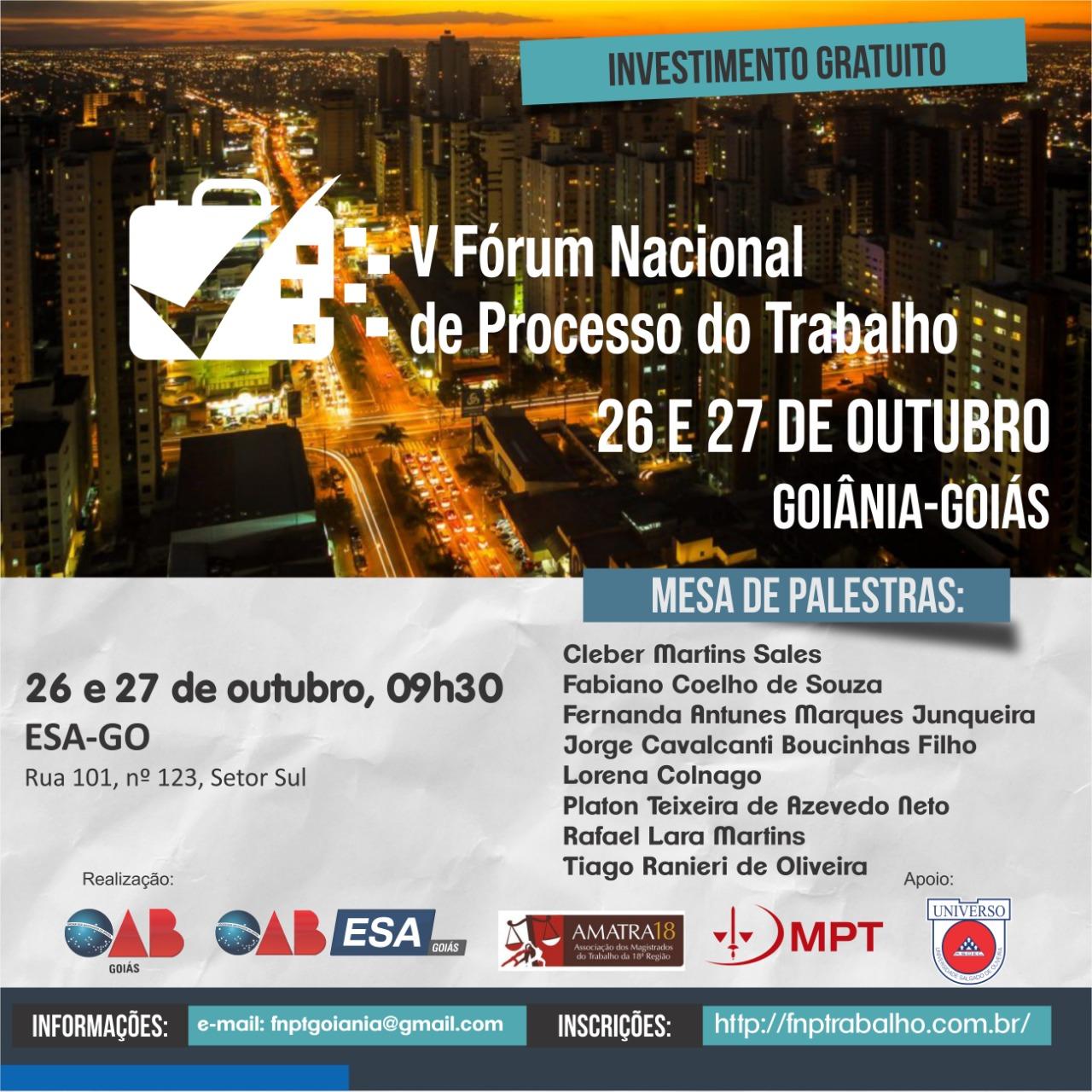 26 e 27.10 - Fórum Nacional de Processo do Trabalho