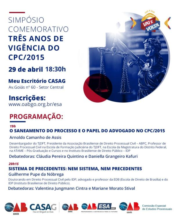 29.04 - Simpósio Comemorativo - Três anos de Vigência do CPC/2015