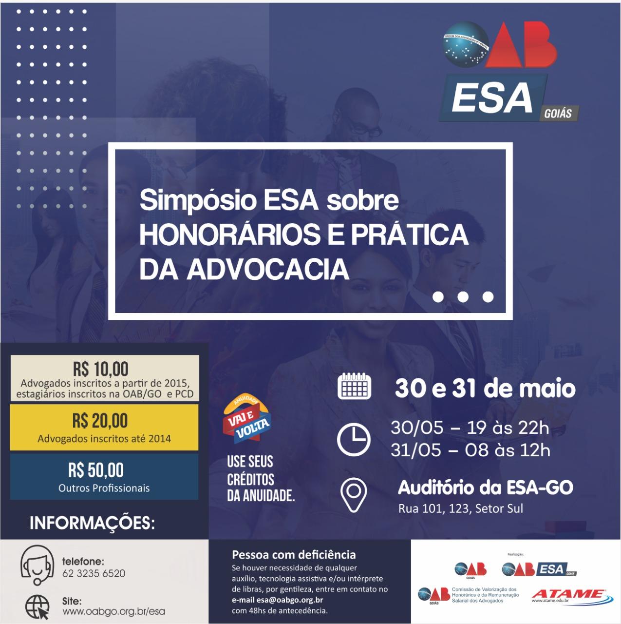 30 e 31.05 - Simpósio ESA sobre Honorários e Prática da Advocacia