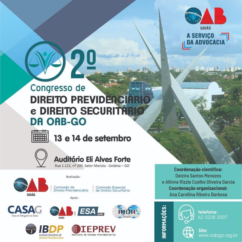 2º Congresso de Direito Previdenciário e Securitário da OAB-GO está com inscrições abertas