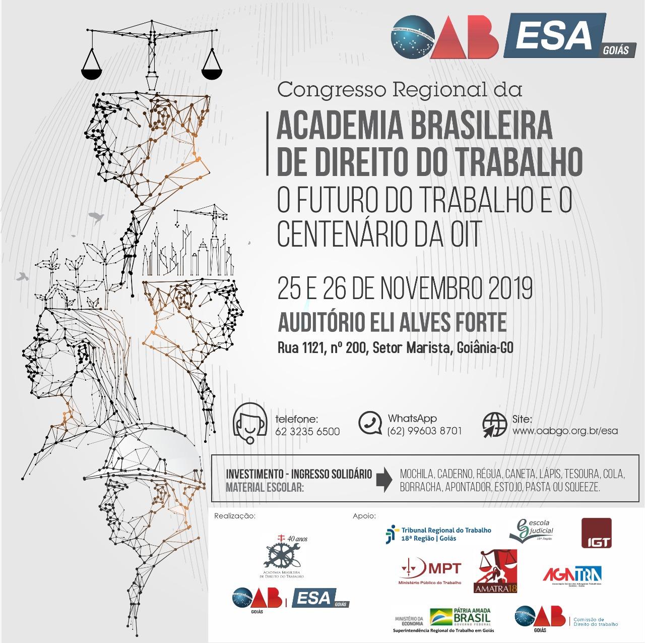 25 e 26.11 - Congresso Regional da Academia Brasileira de Direito do Trabalho