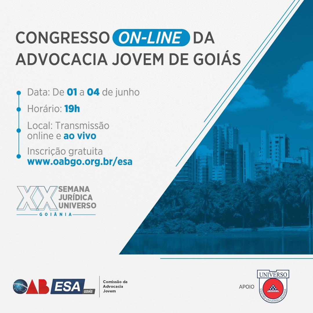 OAB/ESA promove Congresso Online da Advocacia Jovem de Goiás