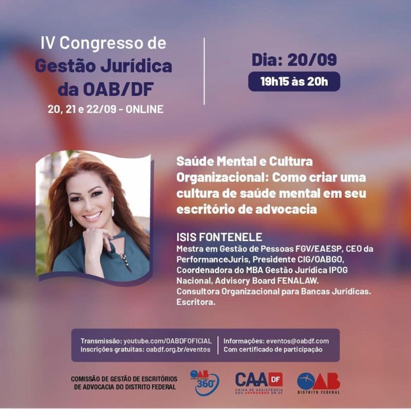 Presidente da CIGJur palestra em Congresso de Gestão Jurídica da OAB-DF