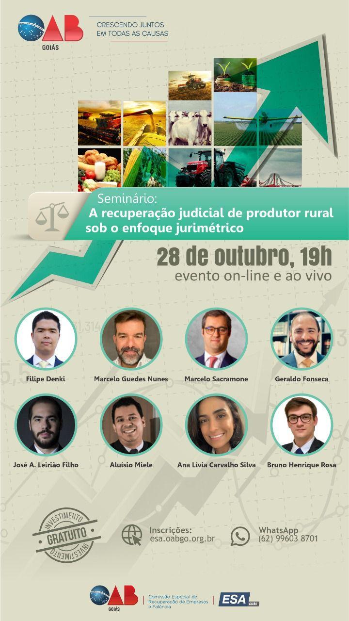OAB-GO realiza seminário sobre recuperação judicial de produtores rurais